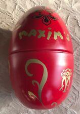 """Maxim'S Red Collectible Egg Tin-5.5""""-Euc!"""