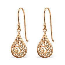 14K Rose Gold on Genuine 925 Sterling Silver Fine Filigree Teardrop Earrings