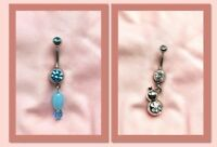2X Surgical Steel Twin Hello Kitty Dangle Belly Button Ring Handmade