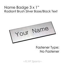 "Name Badge Tag Plate Silver/Black NO FASTENER 3x1"" Personalised Engraved Name..."