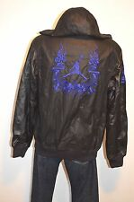 New $500 Nike Air Jordan Destroyer Varsity Leather Jacket Hood Black/Blue Snake