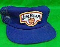 Vtg Jim Beam Whiskey Hat USA Made w Patch Nwot Blue Snapback Trucker Mesh Cap