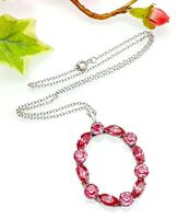 Vintage Mizpah Pink Rhinestone Glass Oval Loop Pendant Necklace - Re-worked