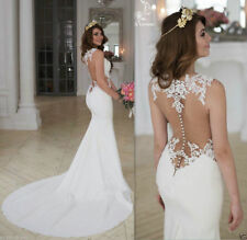 Sheer Lace Chiffon Sleeve White/Ivory Wedding Dress Mermaid Custonm Bridal Gown