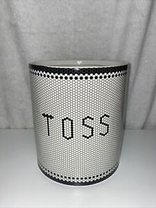 "Kassatex Mosaic Tiles Words ""TOSS"" Porcelain Bathroom Waste Basket Trash Can New"