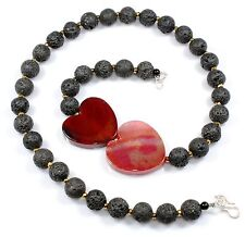 Ct 341 Lava & Agate Stone Jewelry Necklaces Lariat Gemstone Birthday Gifts Sale