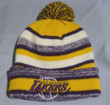 New LA Los Angeles Lakers Logo Cuffed Beanie with POM