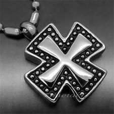 Iron Cross Cremation Memorial Keepsake Urn perfume Jewelry Pendant w/ Chain P008