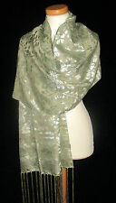 BEAUTIFUL VELVET DEVORE SCARF SHAWL PRETTY PALE GREEN UK SELLER FAST DELIVERY