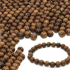 Fun-weevz 300 Pcs Wood Beads for Jewelry Making Supplies 8mm Dark Brown Wooden