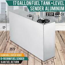 17 GALLON/64L TOP-FEED SLIM ALUMINUM RACE/DRIFT FUEL CELL GAS TANK+LEVEL SENDER