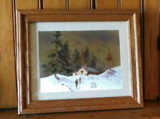 VINTAGE METALLIC FOIL ART SIGNED LANDSCAPE MATTED SOLID WOOD FRAME PICTURE
