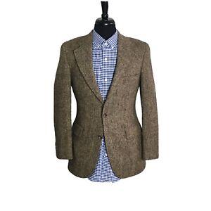 Light Brown Tweed Blazer Scottish Wool Vintage Single-Breasted Sports Coat Jacket 40 USUK Large