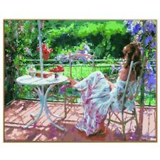 """Paint By Number Kit People Girl Summer Garden Terrace DIY Picture 16x20"""" Canvas"""