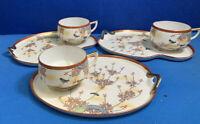Vintage 3 Sets Hakusan Japanese Cup & Plate Snack Sets Occupied Japan Very Nice!
