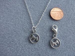 """Set Westie Scotish Terrier Circle Pendant Necklace 18"""" + Clip On Bag Charm # 162"""