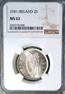 1941 Ireland Brilliant Un-circulated Silver Florin NGC MS-62