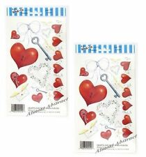 LOT of 2 ~  Royal Rub On Transfers Acid Free Card Making  Hearts and Key