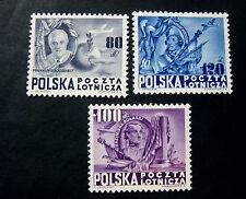 """POLONIA,POLAND,POLSKA, 1948 """" 160° Ann. Stati Unit D'America"""" 3V. cpl set MH P.A"""