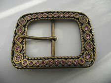 BLING BELT BUCKLE METAL BRASS/GOLD COLOURED SET WITH PALE PINK STONES