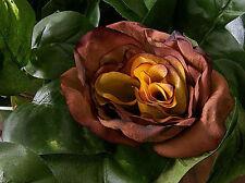 "6 Brown & Yellow Wedding Rose Artificial Silk Flower 3"" Head Hair Clip Craft"