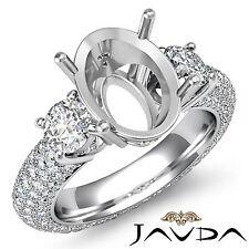 Three 3 Stone Diamond Engagement Eternity Ring Platinum Oval Semi Mount 2.8Ct
