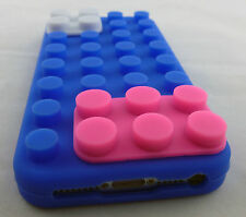 BLUE LEGO TOY BLOCKS SOFT SILICONE RUBBER SKIN CASE COVER APPLE IPHONE 5 ONLY
