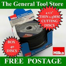 """4 1/2"""" EXTRA THIN 1.5 MM STAINLESS STEEL METAL CUTTING DISCS BOX 40 HILKA"""