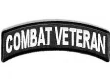 "(F8) COMBAT VETERAN 4"" x 1.5"" iron on ROCKER patch (3365) Biker Patches"