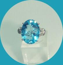 Elegant 10k White Gold Topaz & Diamond Ring-- Size 7