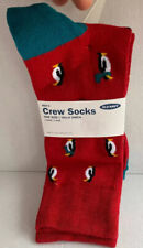 New Old Navy Mens Novelty Crew Socks RED WITH PENGUINS