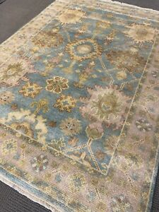 Blue Oushak Area Rug 6' X 9' Wool Hand Made / Knotted  New ushak rare A+ fine