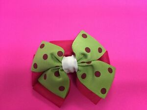 """HOT POLKA DOTS BOUTIQUE HAIR BOW  BABY TODDLER GIRLS 2 1/2"""" ALLIGATOR CLIP"""