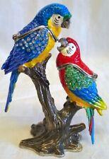 More details for juliana treasured trinkets pair of parrot or macaw birds metal trinket box 15619
