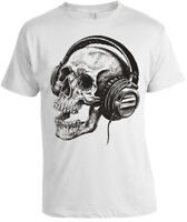 Skull Headphones T-Shirt Mens Womens skeleton music