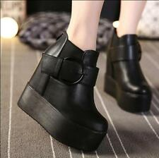 Womens Wedge High Heels Black Platform Back Zip Belt Buckles Ankle Boots Bt15