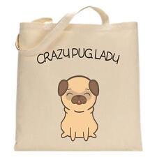Crazy Pug Lady - Tote Bag - Funny Shopping Bag - Pug Dog Lover - Birthday Xmas