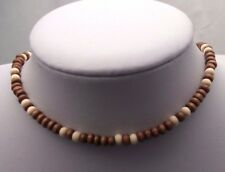 Handmade Wooden Beaded Choker Necklace Natural Brown Ethnic Tribal 15-17.5inches