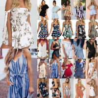 Women Floral Mini Jumpsuit Playsuit Romper Holiday Summer Shorts Beach Dress Lot