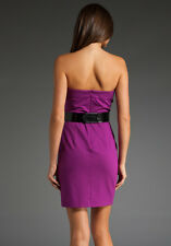 TRINA TURK DELPHIC ORCHID PURPLE BELTED STRAPLESS KNIT DRESS NEW SIZE 0