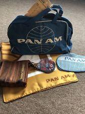 Rare Vintage Pan Am Light Blue Stewardess Flight Bag from 1960s Plus Accessories