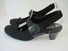 Munro American Mary Jane Slingback Heels Black Patent Fabric Elastic Size 8B NEW