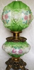 ANTIQUE GONE WITH THE WIND OIL LAMP LION HEAD HAND PAINTED PARLOR CONVERTED
