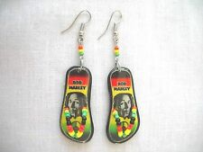 BLACK & WHITE YOUNGER BOB MARLEY w RASTA COLORS FLIP FLOP BEACH SANDALS EARRINGS