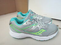WOMENS SAUCONY GRID COHESION 11 GRAY WHITE TEAL RUNNING SHOES SIZE 8M A164