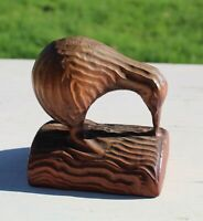 New Zealand Kiwi Wood Carved Bird Mid Century Modernist Figure Brown Tropic Core