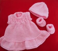 "Doll Clothes Hand-knit Vintage Style Pink Sunny Dress Set Fits 11"" to 13"" Dolls"