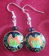 Cloisonne butterfly design bead, silver plated earrings , black/green pretty 367