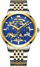 Men's Mechanical Movement Skeleton Wrist Watch Stainless Steel 3atm Waterproof