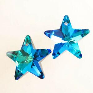 2Pcs 20x10mm Faceted Blue Titanium Crystal Star Pendant Bead H77430